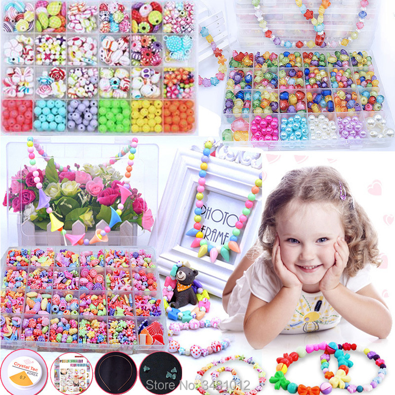 24 Grid DIY Handmade Beaded Beads Braid Beads Art Craft Necklace Bracelet Creative Jewelry Kit Kids Toys for Children Girls Gift ...