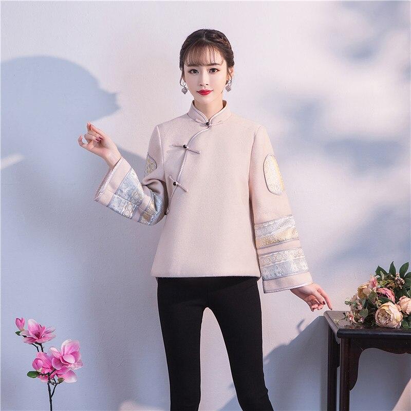 Hiver laine femmes fleur veste chaude traditionnel chinois Mandarin col Outwear manches longues classique Tang Top pardessus S-XXL