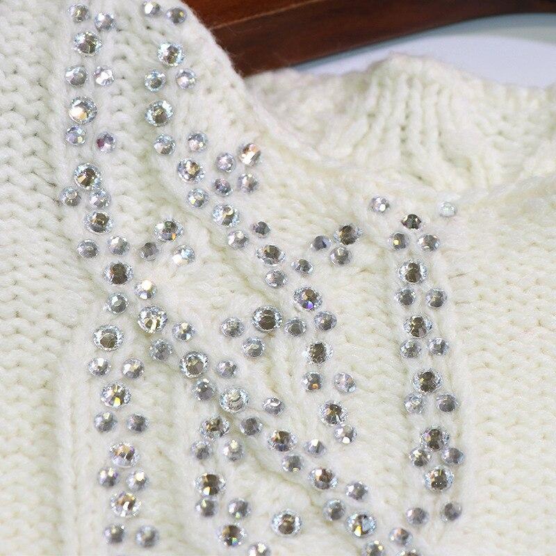 corps Femme Nouveau Repasser En Tenue Chandail Au Plein Pull Du De Nail Perle Survêtement Début À Travail Printemps Blanc Laine Ronde 2019 Tricoté cou Lourd vwv8qYgI