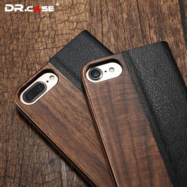 Dr. case leather flip case para iphone 6 7 de bambu 6 s anti-knock fundas carcasa 7 natural wood case capa para iphone 6 6 s plus capa