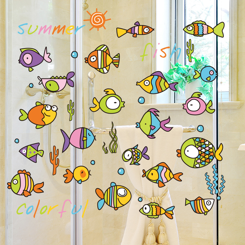 SHIJUEHEZI Cartoon Bunte Fische Wandaufkleber Vinyl DIY Tier Wand Kunst Fr Kinder Zimmer Bad
