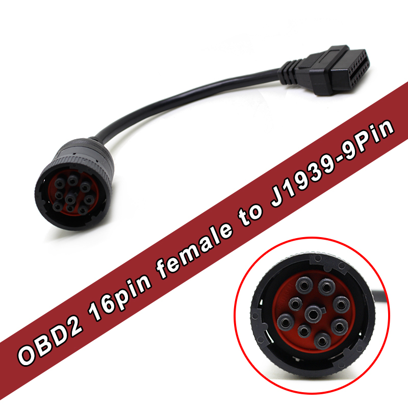 High Quality OBD2 Female 16pin to J1939 9pin truck Cable Free Shipping