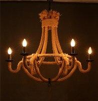 Американский деревня Винтаж Кулон лампы 6 * E14 Иром и пеньковый Канат ручной работы Творческий Лофт лампа бар/кафе магазин столовая лампа