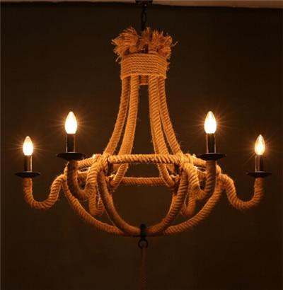 American countryside vintage pendent lamp 6*E14 irom& hemp rope hand made creative loft lamp bar/cafe shop dining room lamp
