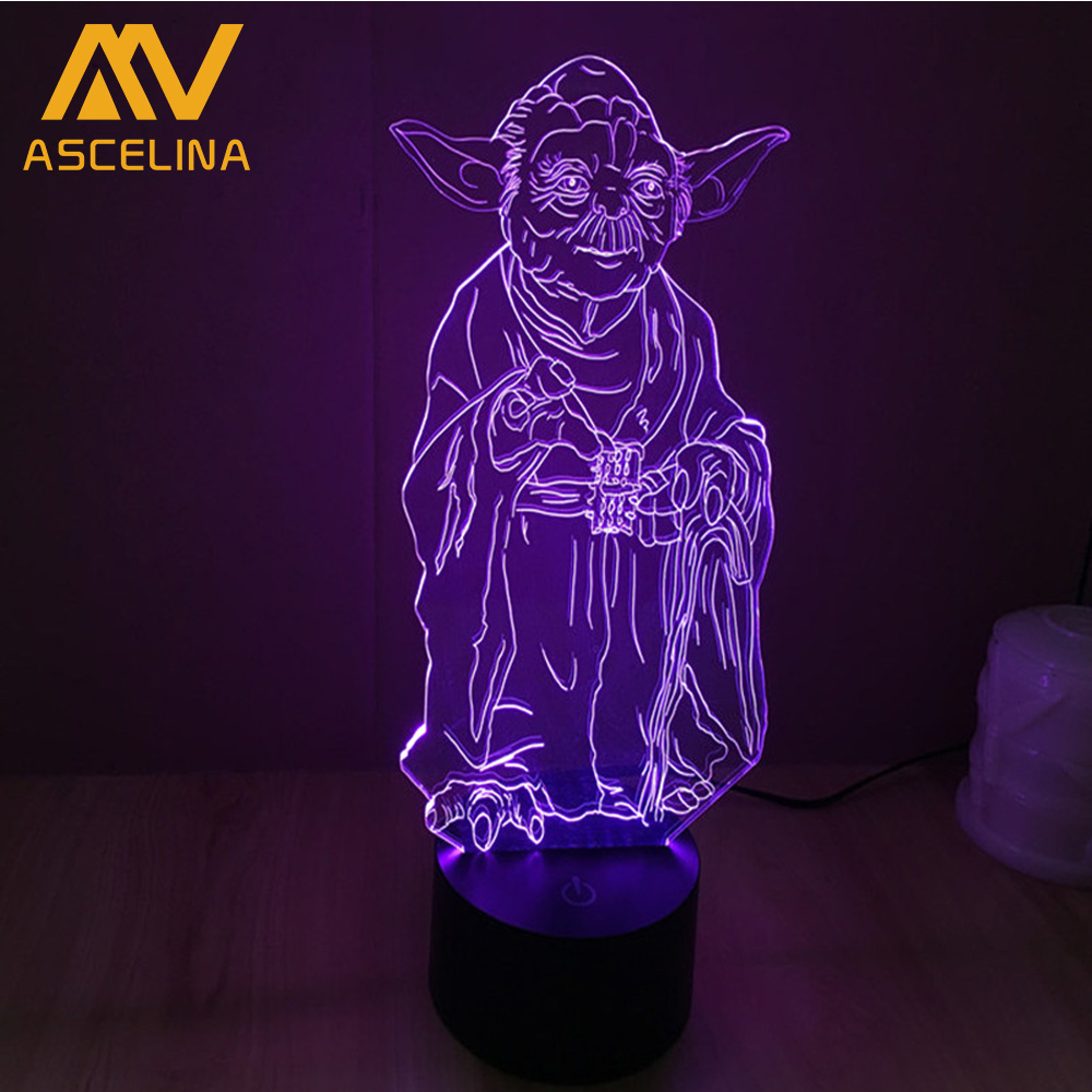 Jedi Knight Master Yoda Star Wars Lighting Gadget 3D Mood Lamp Multicolors with Remote Controller Colorful discoloration star wars jedi knight master yoda pvc action figure collectible model toy doll gift 12cm kt2029