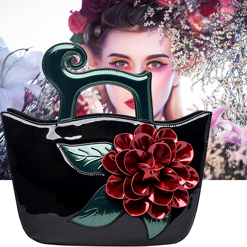 Fashion Women Handbag Soft Bright PU Leather Big Flower Top-handle Bag 2018 New Style Lady Banquet Shoulder Crossbody Bags Gifts linen top handle bag chinese national style handbag women handmade tassal embroidery flower lady casual totes big shoulder bag
