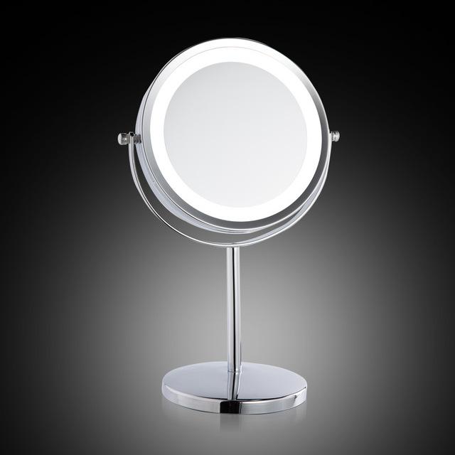 Espejo de aumento de metal europeo grande 7 pulgadas LED lámpara de escritorio espejo 2-cara es 3X zoom La chica espejo de maquillaje con luz