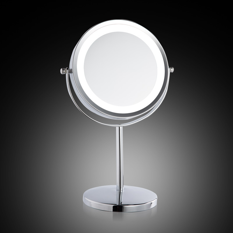 European Cosmetic mirror metal large 7 inch    LED lamp desktop mirror 2-Face one is 3X zoom The girl makeup mirror with light large 8 inch fashion high definition desktop makeup mirror 2 face metal bathroom mirror 3x magnifying round pin 360 rotating