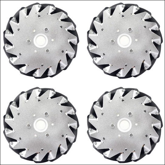 A set of 152mm Aluminium Mecanum wheels (4 pieces) 14101