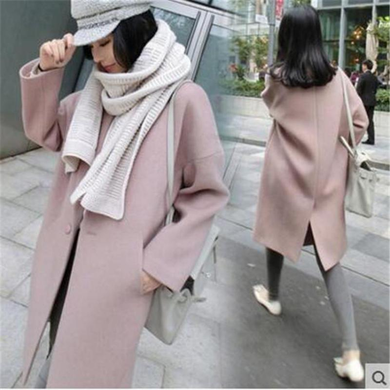 Autumn And Winter 2018  Fashion Pure Wool Coat And Long Sleeved Long Woolen Coat Female Free Shipping