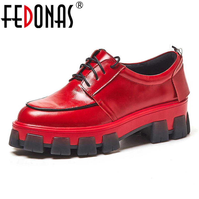 FEDONAS 2020 Spring Autumn Women Round Toe Platforms Flats Quality Genuine Leather Casual Shoes Woman Cross-tied Women Sneakers(China)