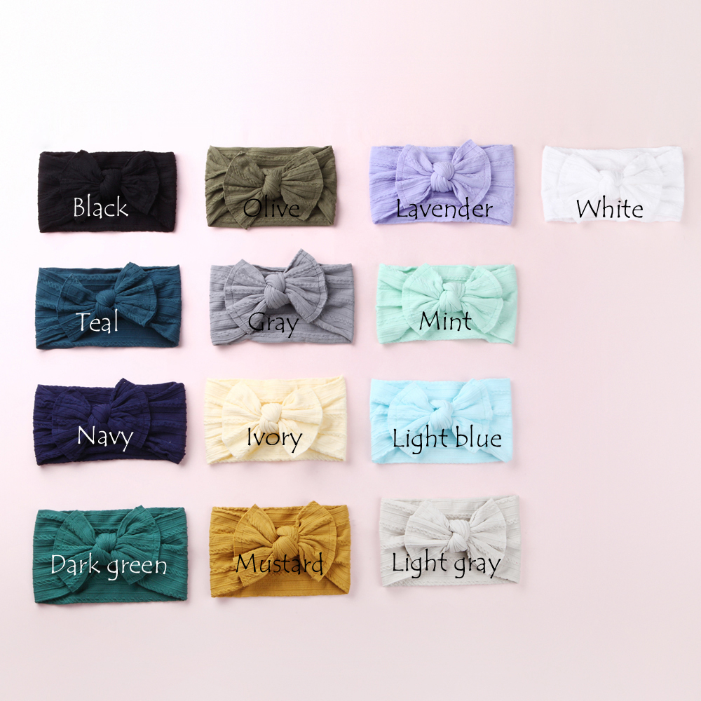 Image 4 - Newborn Kids Cable Knit Wide Nylon Headbands,Knotted Hair Bow Baby Ribbed Turban Headwraps,Children Girls Headwear 30PC/lot-in Hair Accessories from Mother & Kids