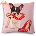 Animal French Bulldog Cushion Cover Pug Dog Pillowcase Woven Cushion Cover Cotton Linen Car Euro Pillow Covers Decorative