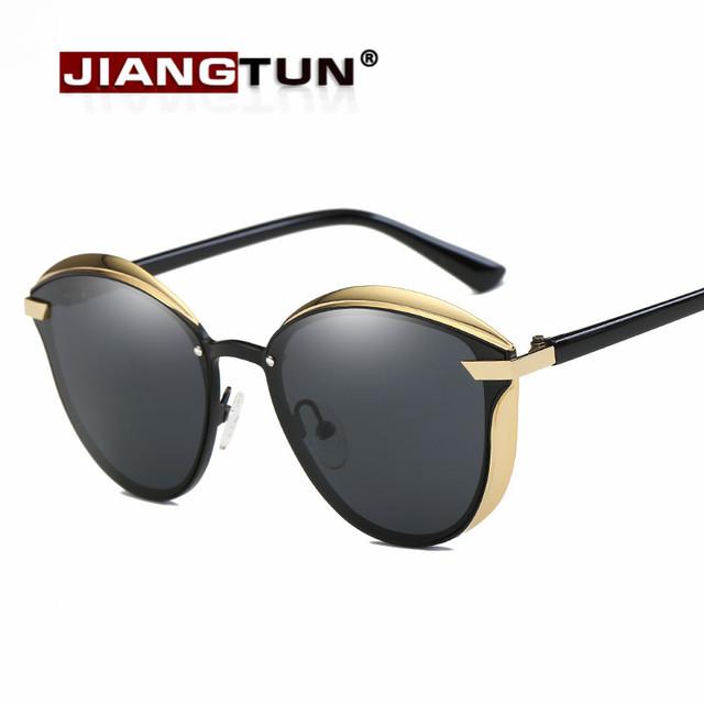 Jiangtun lente polarizada espelho óculos de sol das mulheres de luxo designer de senhoras óculos de sol cat eye óculos para as mulheres box grátis