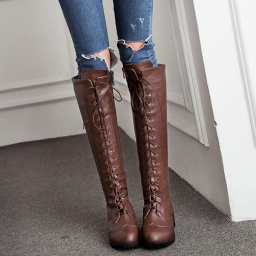 88f287fbd20 ladies winter lace up boots 2015 brand women knee high flat heel leather  boots new fall fashion designer brogue long shoes-in Knee-High Boots from  Shoes on ...