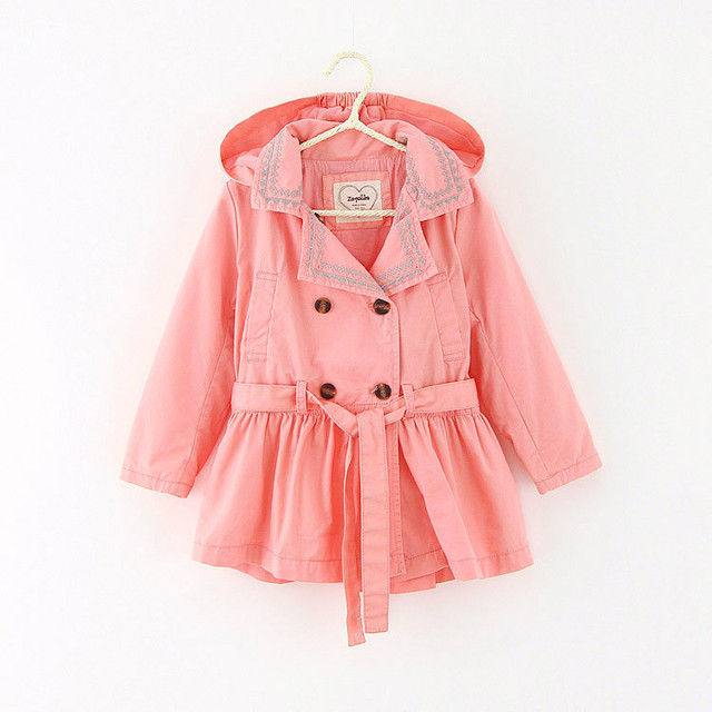 2016 Autumn Kid Girl Trench Coat Long Girls embroidery Jackets Double Breasted Sash Fashion Spring Children's Outerwear for Girl