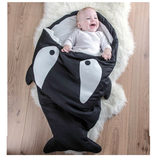 Fashion thick winter envelope cotton shark fish swaddle ziper up stitch sleeping bag baby