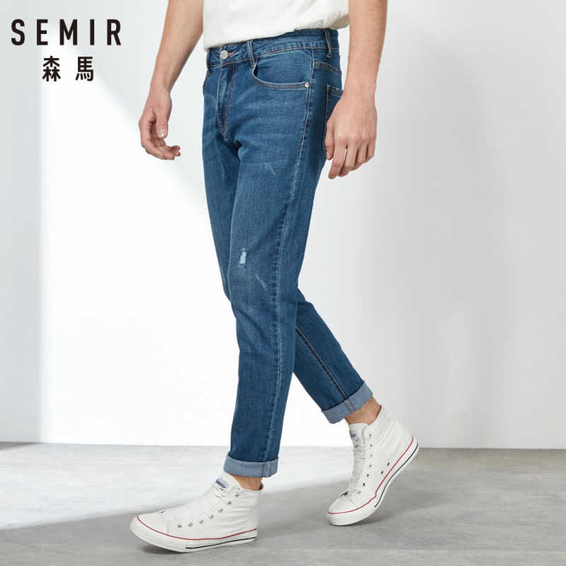 SEMIR 2019 Spring New Men Elastic Cotton Stretch Jeans Pants Loose Fit Denim Trousers Men's Brand Fashion Wear