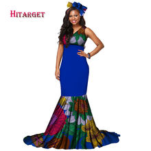 Autumn African dress Print Sleeveness Maxi Dress Women Deep V Neck African  Print Dashiki Dresses Long Wrap Dress Clothing WY1544 72b6d336d38f