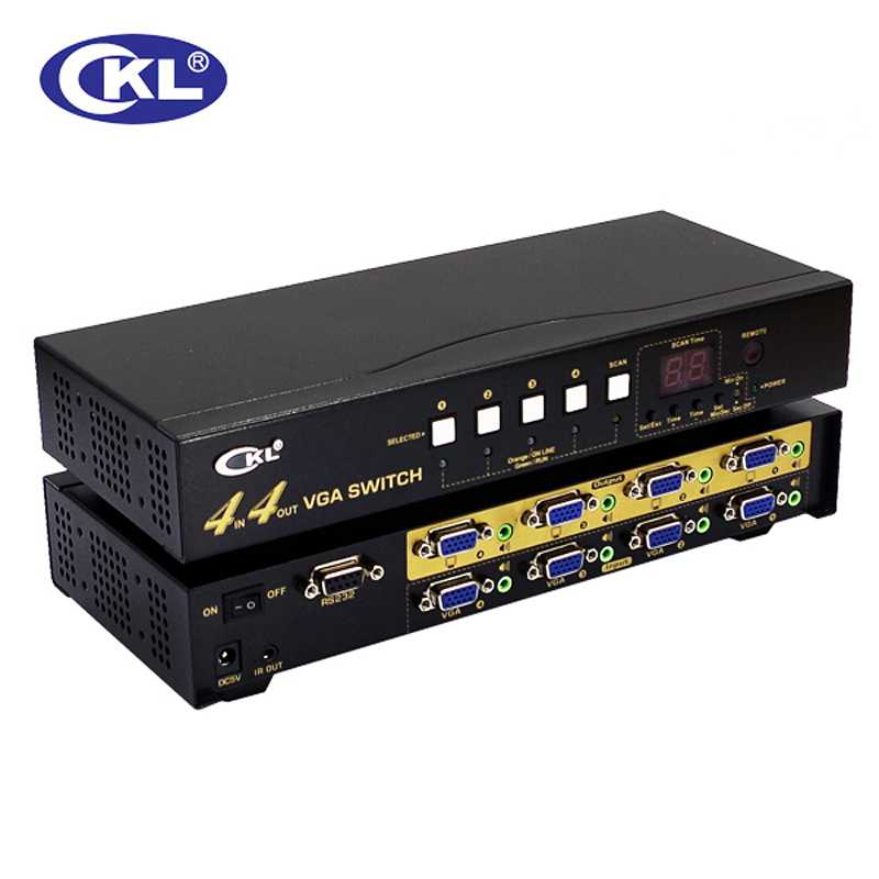 CKL-444R High-end VGA Switch <font><b>Splitter</b></font> Box with audio <font><b>4</b></font> in <font><b>4</b></font> out 2048*1536 450MHz for PC <font><b>Monitor</b></font> wih IR Remote RS232 Control image