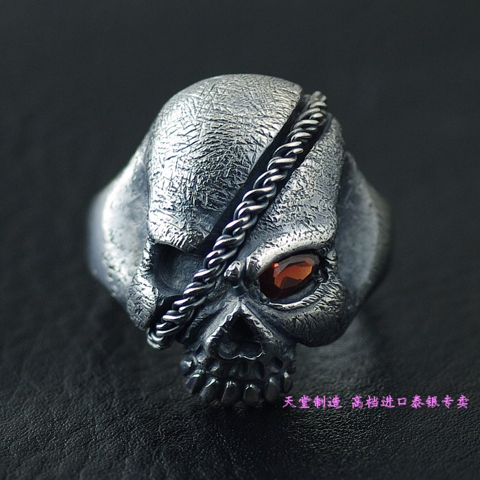 Thailand imports 925 sterling silver, one eyed Pirate Skull Silver Ring thailand imports skull blood new skeleton silver ring