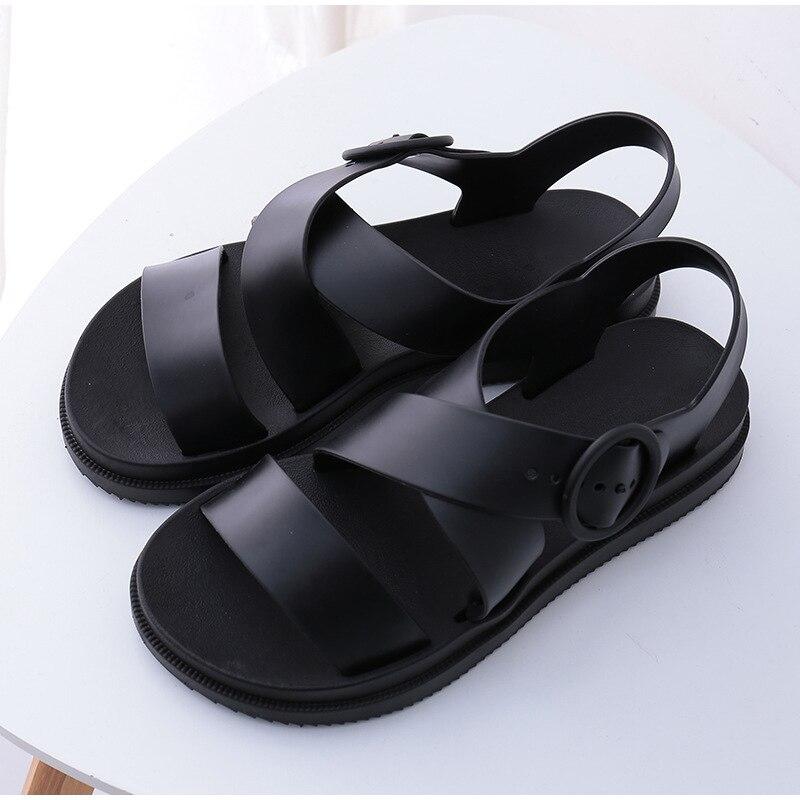 HTB1gtaXKHrpK1RjSZTEq6AWAVXar MCCKLE Flat Sandals Women Shoes Gladiator Open Toe Buckle Soft Jelly Sandals Female Casual Women's Flat Platform Beach Shoes