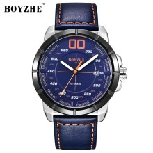 купить BOYZHE Mechanical Watch Men Automatic Watches Men Self Wind Luxury Brand Luminous Leather Watch Mens Fashion Day Date Wristwatch дешево