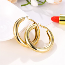 Simple Classic Personality Circle Hoop Earrings Round Minimalist Statement Earrings Party Wedding Jewelry Gift for Women Brincos 2018 luxury rhinestone hollowed round circle stud earrings for women crystal charm minimalist personality statement jewelry