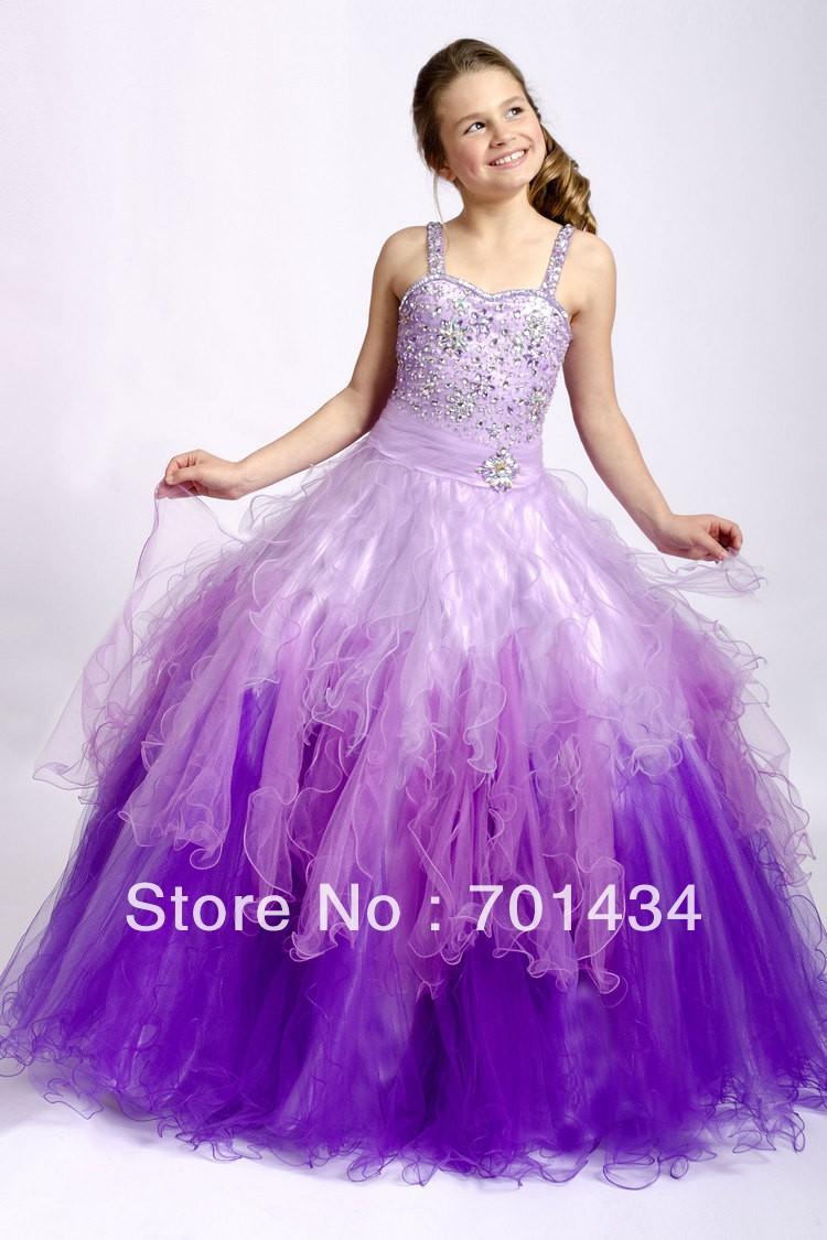 lila spaghetti-trägern mädchens kleid tulle farbverlauf ballkleider für  kinder colorfulle pageant kleider