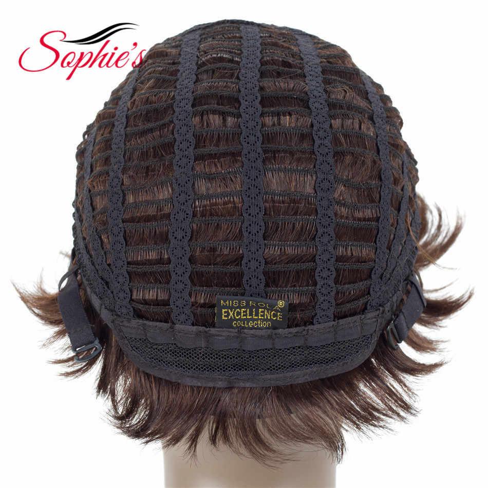 Sophie's Non-Remy Human Hair Korte Menselijk Haar Pruiken Voor Vrouwen Braziliaanse Natuurlijke Golf H. honing Pruiken 3.5 inches # 1B, # 99J