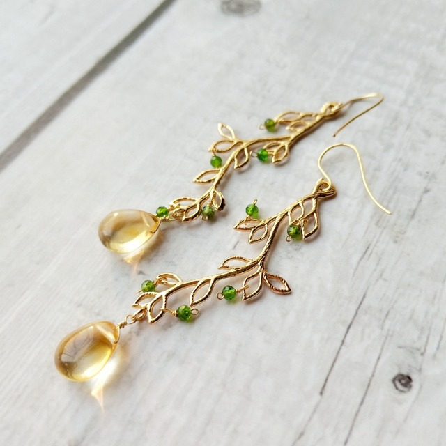 Lii Ji Natural Stone Citrine Diopside Leaves Shape Drop Long Earrings 925 Sterling Silver Hook Earrings For Women