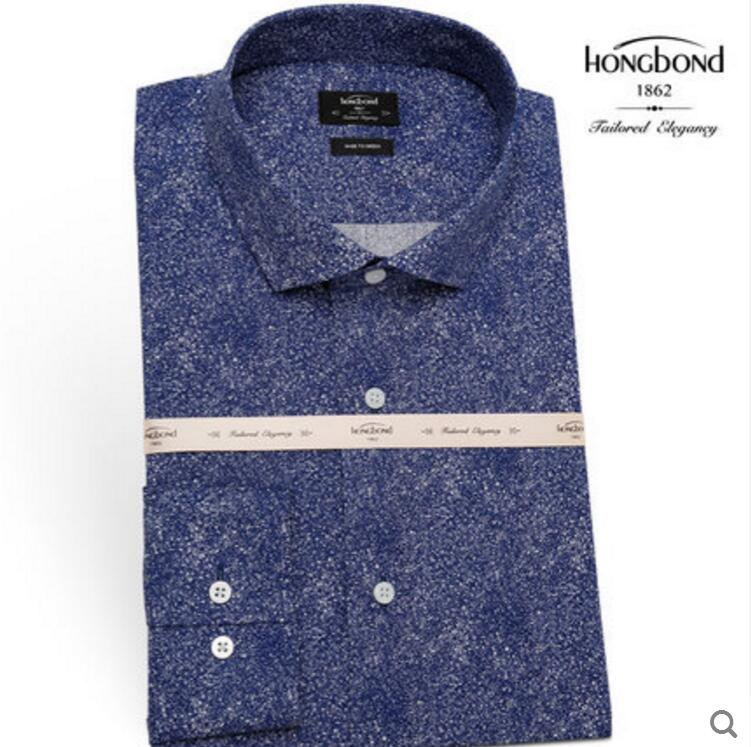100%Cotton Blue Printed Shirt Men 's Business Fashion Style Spring Autumn Professional Tailor made High Quality - 2
