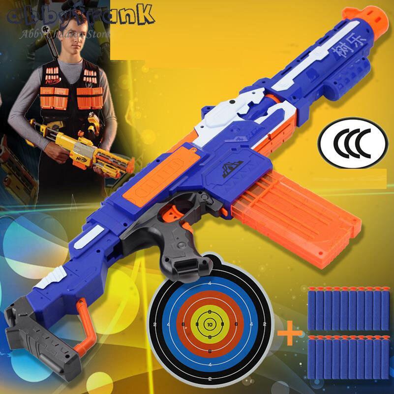 Abbyfrank Soft Bullet Toy Gun Plastic Sniper Rifle Plastic Gun 20 Bullets 1 Target Electric Gun