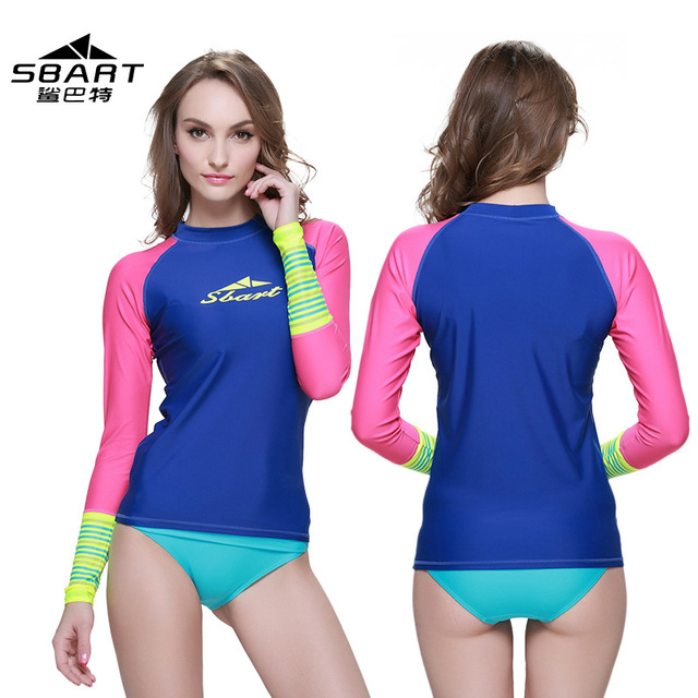 SBART NEW Rashguard Women Swim Shirts Womens Rash Guard Swimwear Female Lycra Anty 50 UV Rushguard Long Sleeve Swimsuit
