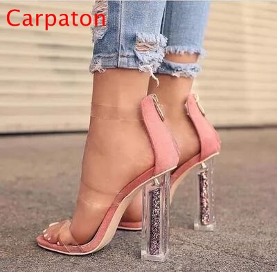 High Quality Summer Open Toe Women Ankle Strap Sandals Sexy Transparent Strap PVC Gladiator Sandals Bling Purple Stiletto Shoes summer hot sale women fashion open toe bling bling gold sliver strap high heel sandals ankle wrap gladiator sandals dress shoes