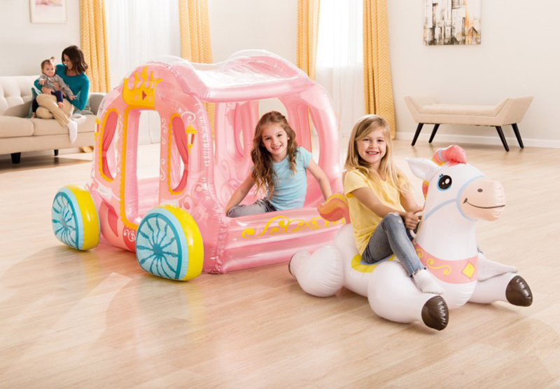 Home Water Children Inflatable Pink Princess House Castle Ride on Unicorn Pool Float Island Fun Air Raft Boat