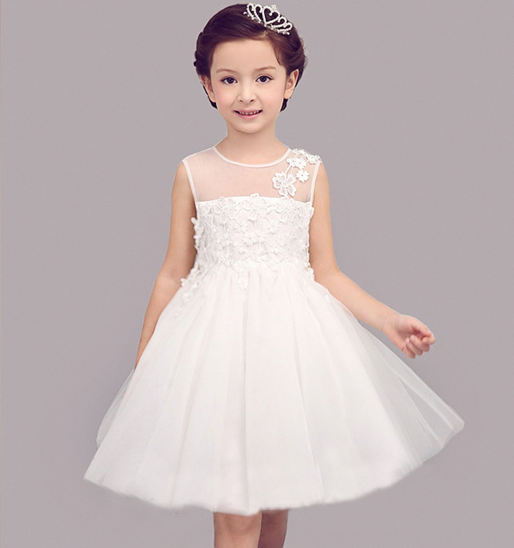 White wedding dresses for little girl adorable flower girls bridesmaid big bow princess vestido branco