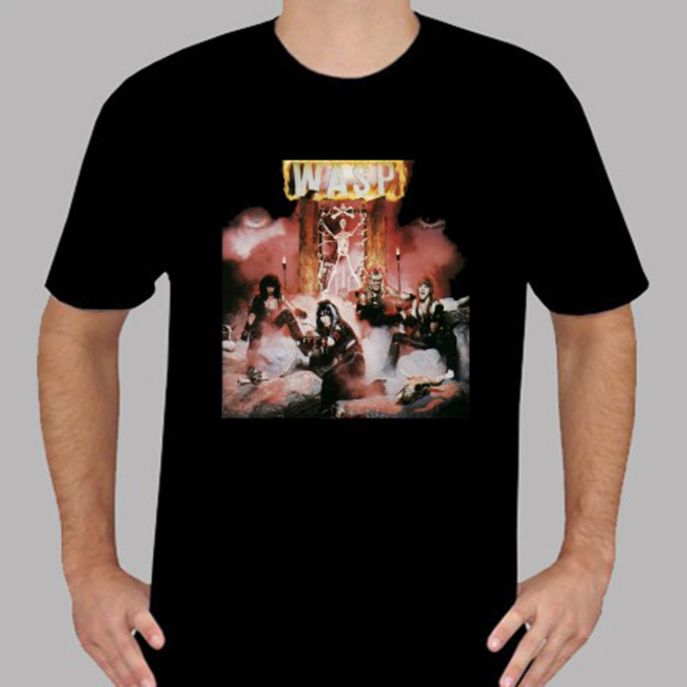 New WASP W.A.S.P. Metal Rock Band Mens Black T-Shirt Size S to 3XL Print T-Shirt Harajuku Short 100% Cotton