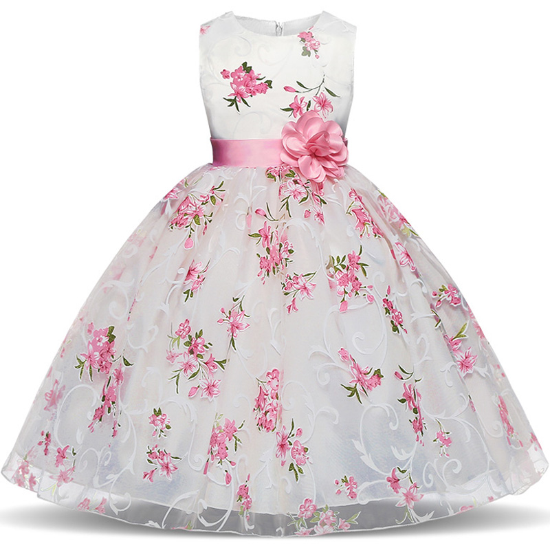 Summer Flower Girl Dresses 2018 New Floral Children Ball Gown Wedding Party Clothing Kids Dress for School Girl Kid robe fille girl dress princess floral autumn long sleeve gown party dresses kids clothes bow flower robe fille rapunzel kids dress 12 year