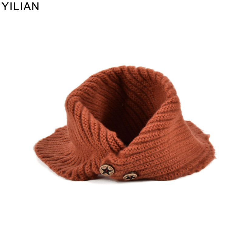 YILIAN Brand Baby Children Scarf Winter For Girls&Boy Cotton Thick Warm Knitted Ring Lovely Warm Soft Scarf With Buttons TX003