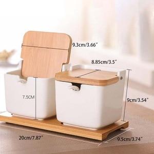 Image 5 - Kitchen Spice Pot Porcelain Sugar Salt Storage Pepper Jars Container Lid Spoon Box Ceramic Bamboo Cover Condiment Seasoning Rack