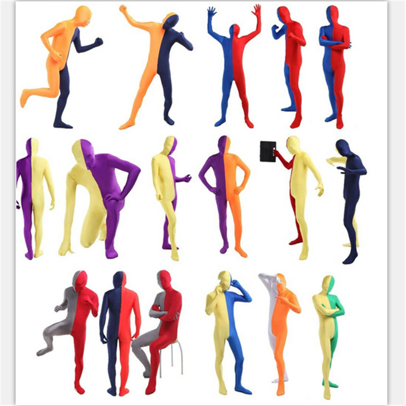 high quality Double Color Zentai Lycra Full Body One Piece Bodysuit New Custom Skin Tight SuitsCosplay Halloween Costume For Men