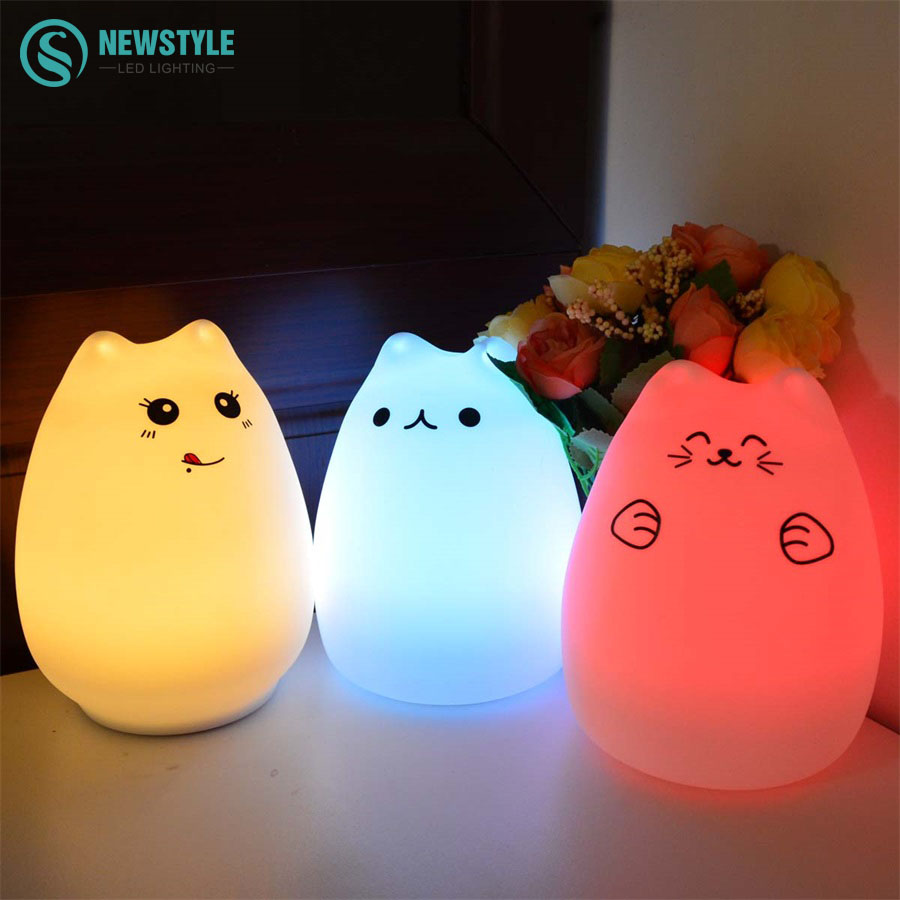 Colorful Cat Silicone LED Night Light Rechargeable Touch Sens
