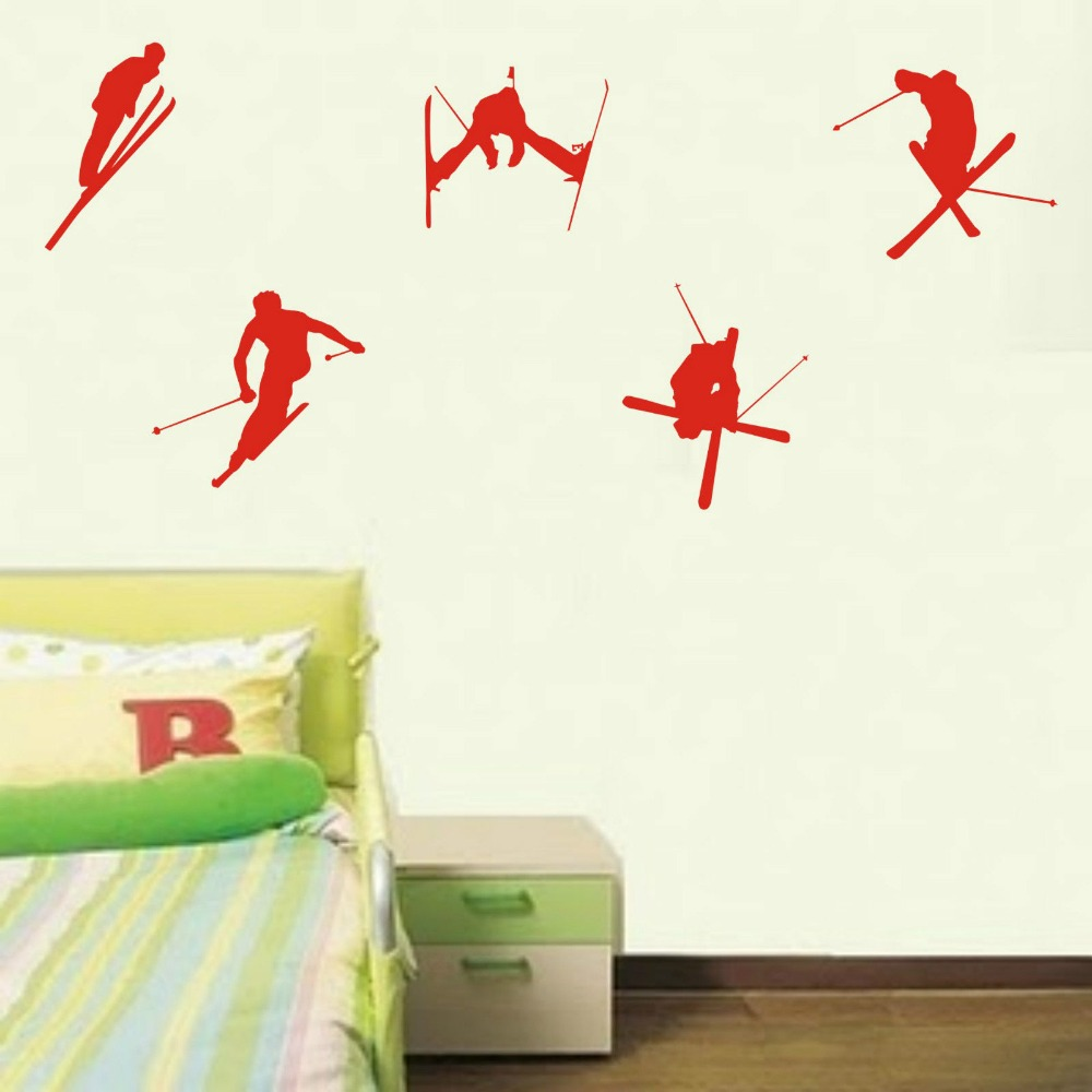 Aliexpress.com : Buy Ski wall stickers x5 childrens bedroom wall sticker  decals Sports Wall Decals 3 sizes 40 COLORS available from Reliable sports  wall ...