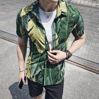 Green Printed Shirts Mens 2017 Summer Beach Shirts Camisas Hombre Casual Mens Clothing Fancy Shirts Fashion