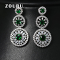 ZOURU ZOURU Brand Luxury New Fashion White Gold Plated Saphire Big AAA CZ Stone Stud Earrings For Women Vintage Fine Jewelry