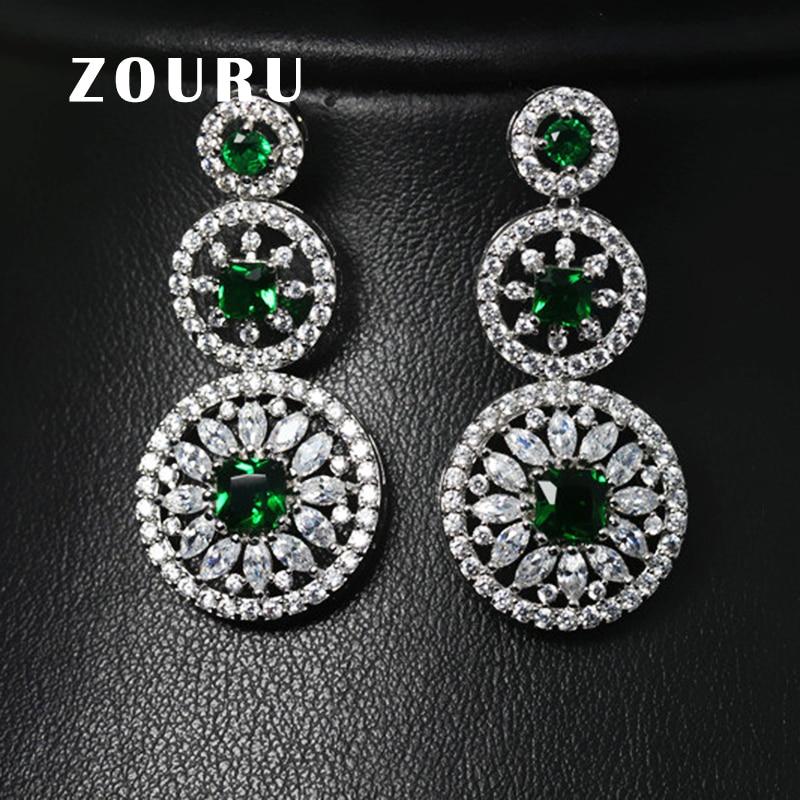 ZOURU ZOURU Brand Luxury New Fashion White Gold Plating Saphire Big AAA CZ Stone Stud Earrings For Women Vintage Fine Jewelry все цены