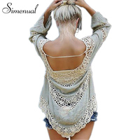 Handmade Crochet Splice Ladies Blouse Lace Long Sleeve Beach Cover Up High Fashion 2016 Slim Women