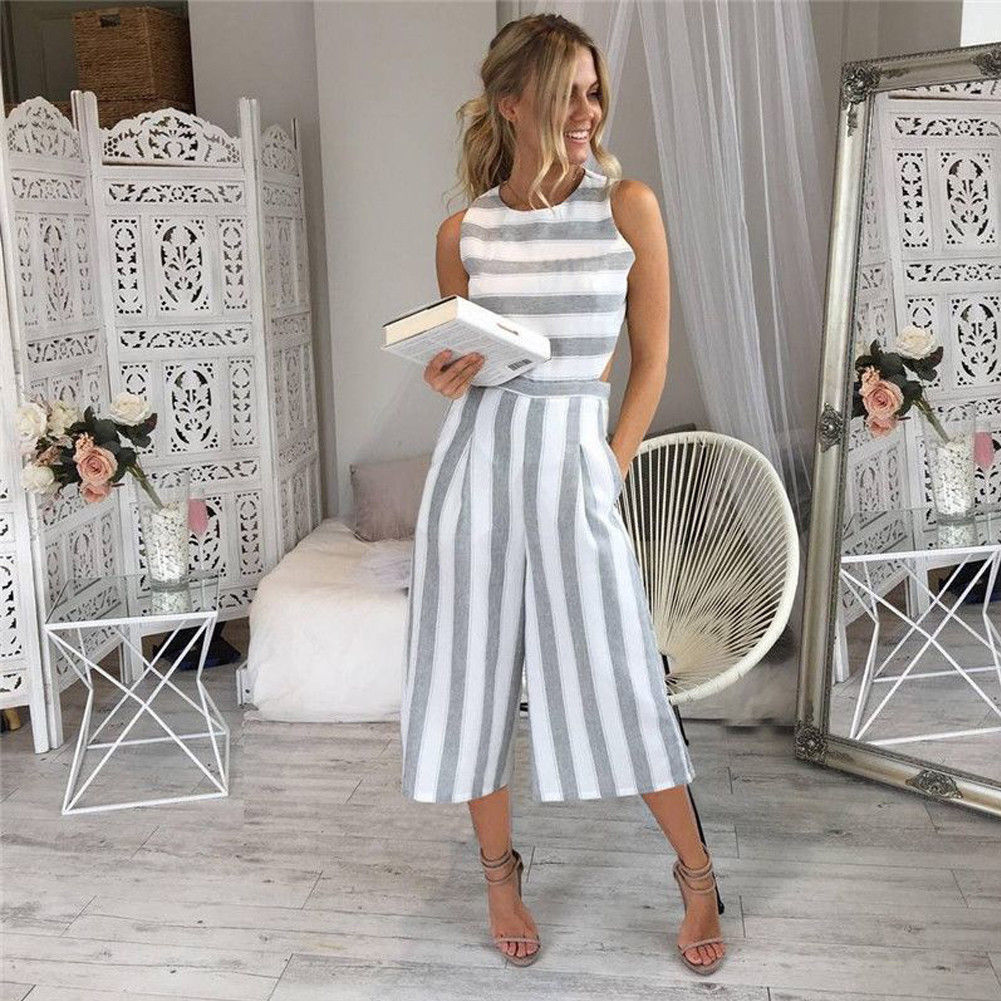 971b2e33f0a0 Summer Women s Ladies Cotton Casual Jumpsuits Strap Vertical Striped  Jumpsuit Sleeveless Backless Long Jumpsuit Gray