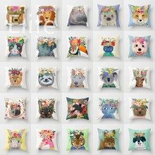 Elife Polyester Cat flower Cushion Cover Square Cartoon Animal Pillows Case For Sofa Car Cafe waist Home Decor 45*45CM
